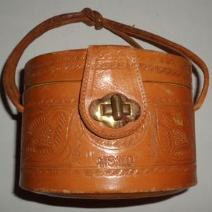 Mexican Petite Round Hand Tooled Bag